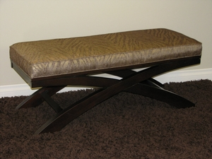 4D Concepts Espresso Brown X Bench with Soft Animal Print Linen