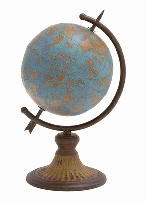 Antique Metal Globe In A Rustic Design - 20251 by Benzara