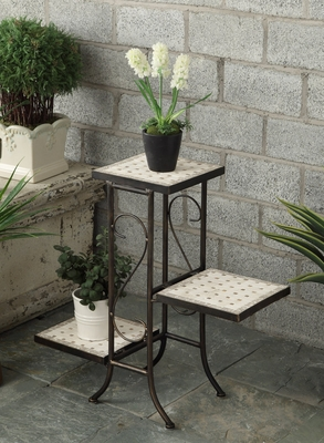 4D Concepts Ethnic 3 Tiers Travertine Top Classy Plant Stand