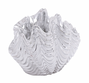 Elegant And Charming Polystone Sea Shell With Sparkling Texture - 20952 by Benzara