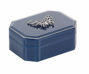 Exalted Butterfly Glass Box, Blue - 35787 by Benzara