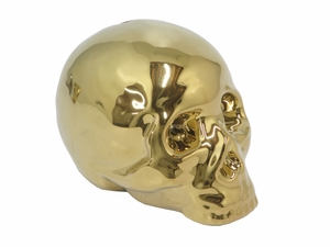 Excellent Ceramic Skull Bank - Gold