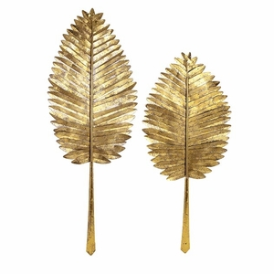 Excellent Set Of 2 Milano Gold Leaf Wall Leaves by IMAX