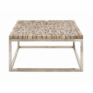 Exceptionally Designed Stainless Steel Teak Coffee Table - 90901 by Benzara