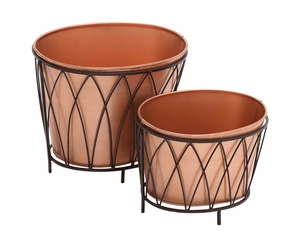 Exclusive Styled Metal Oval Planter - 22128 by Benzara