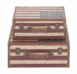 Exclusive Wood Canvas Trunk Set of 2 by Benzara