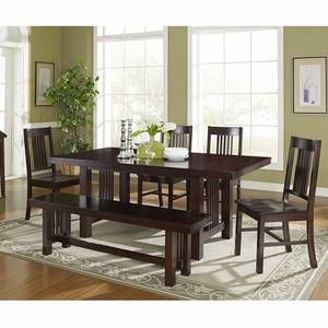 Walker Edison Cappuccino Dyed Meridian Wood Dining Set 6Pc