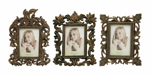 Exquisite Polystone Photo Frame 3 Assorted - 76465 by Benzara