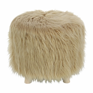 Exquisite Wood Faux Fur Foot Stool Ottoman - 98772 by Benzara