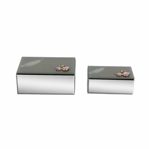 Exquisite Wood Mirror Jewelry Box In Grey Color, Set Of 2 - 98788 by Benzara