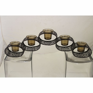 Eye-catching 5 Glass Candle Holder with Gift Box - Benzara