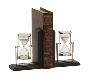 Eye-Catching Customary Styled Wood Metal Bookend Pair - 14454 by Benzara