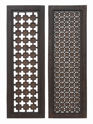 34088 Elegant Wall Sculpture - Wood Wall Panel 2 Assorted - 34088 by Benzara