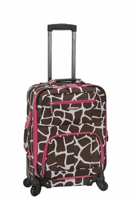 "F1051-PINKGIRAFFE Mariposa 19"" Spinner Carry On Luggage Set"