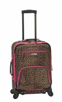 "F1051-PINKLEOPARD Mariposa 19""Spinner Carry On Luggage Set"