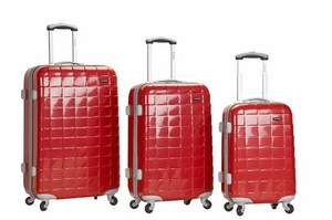 F129-RED1 3Pc Celebrity Polycarbonate/Abs Luggage Set