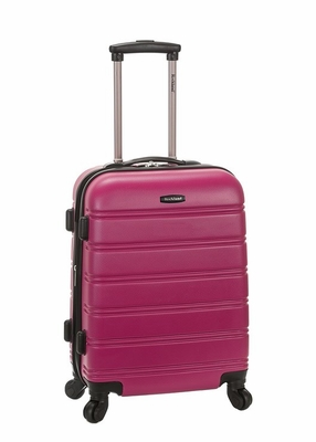 """F145-MAGENTA Melbourne 20"""" Expandable Abs Carry On  Luggage Set"""