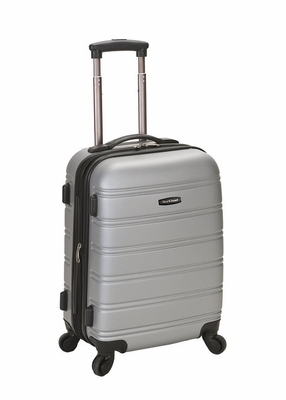 """F145-SILVER Melbourne 20"""" Expandable Abs Carry On  Luggage Set"""