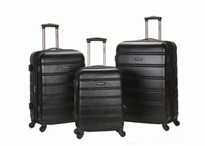 F160-BLACK Melbourne 3 Pc Abs Luggage Set