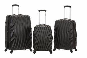 F160-BLACKWAVE Melbourne 3 Pc Abs Luggage Set