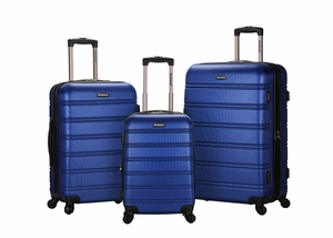 F160-BLUE Melbourne 3 Pc Abs Luggage Set