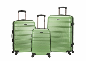 F160-GREEN Melbourne 3 Pc Abs Luggage Set