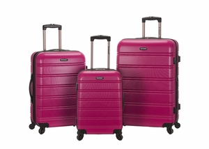 F160-MAGENTA Melbourne 3 Pc Abs Luggage Set