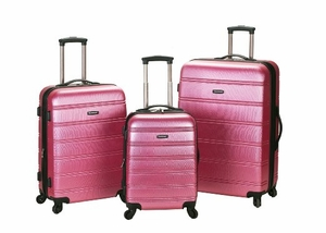 F160-PINK Melbourne 3 Pc Abs Luggage Set