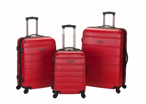 F160-RED Melbourne 3 Pc Abs Luggage Set