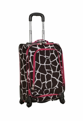 """F181-PINKGIRAFFE 20"""" Spinner Carry On Luggage Set"""