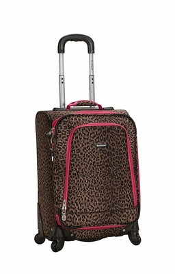 """F181-PINKLEOPARD 20"""" Spinner Carry On Luggage Set"""