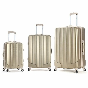 F185-BRONZE 3Pc Metallic Polycarbonate/Abs Upright  Luggage Set