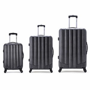 F185-CARBON 3Pc Metallic Polycarbonate/Abs Upright  Luggage Set