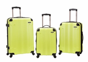 F190-LIME 3 Pc Sonic Abs Upright  Luggage Set