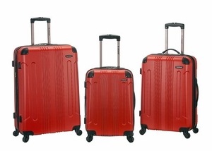 F190-RED 3 Pc Sonic Abs Upright Luggage Set