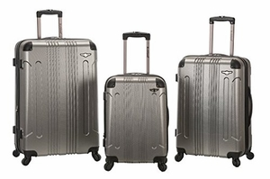 F190-SILVER 3 Pc Sonic Abs Upright  Luggage Set