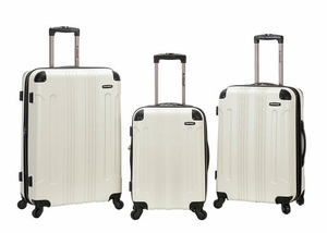 F190-WHITE 3 Pc Sonic Abs Upright Luggage Set