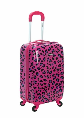 "F191-MAGENTALEOPARD 20"" Polycarbonate Carry On  Luggage Set"