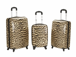 F196-LEOPARD 3Pc Leopard Polycarbonate/Abs Upright  Luggage Set