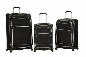 F218-BLACK 3 Pc Polyester Spinning Luggage Set