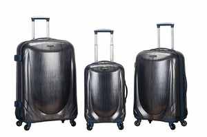 F222-BLUE 3 Pc Polycarbonate Spinner Luggage Set
