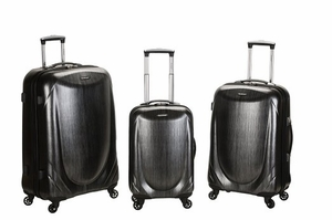 F222-GRAY 3 Pc Polycarbonate Spinner Luggage Set