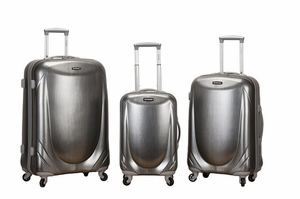 F222-SILVER 3 Pc Polycarbonate Spinner Luggage Set