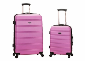 """F225-PINK 20"""", 28"""" 2Pc Expandable Abs Luggage Spinner Set"""