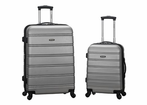 """F225-SILVER 20"""", 28"""" 2Pc Expandable Spinner Luggage Set"""