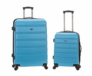 """F225-TURQUOISE 20"""", 28"""" 2Pc Expandable Abs Spinner Luggage Set"""
