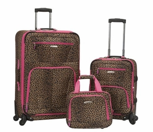 """F228-PINKLEOPARD Pasadena 19"""", 28"""" Expandable Spinner Luggage Set"""