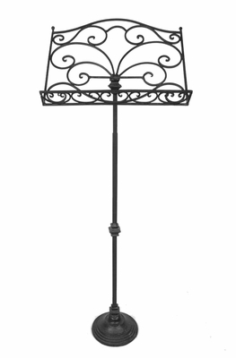 Facinating Styled Black Metal Scroll Music Stand by Benzara