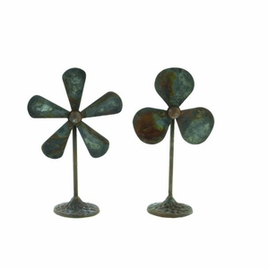 """Fan Table Decor In Antiqued Patina Iron Finish7""""W, 12""""H Assorted 2 - 84212 by Benzara"""