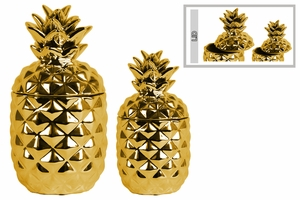 Fascinating Ceramic Pineapple Canister Set of Two- Gold- Benzara